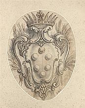 Jean LEPAUTRE (Paris 1618-1682) Blason des Médicis Plume et encre brune, lavis gris sur traits de crayon noir 25 x 19cm, dans un ova...