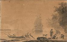 Claude Joseph VERNET (Avignon 1714-Paris 1789) Paysage maritime animé Crayon noir et lavis gris 31 x 48cm Signé en haut à gauche et ...