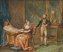 École française du XIXesiècle Napoléon, l'Impératrice MARIE-LOUISE et l'aiglon Gouache sur ivoire Annoté en bas à droite