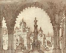 Fabrizio GALLIARI (Andorno 1709-Treviglio 1790) Projet pour un décor d'opéra Plume et encre brune, lavis brun et gris sur traits de ...