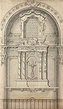 école italienne néoclassique Relevé d'un autel baroque Plume et encre noire, lavis gris sur traits de crayon noir 70 x 41,5cm Petits...