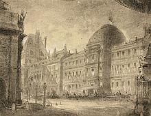Attribué à Charles Antoine CAMBON (Paris 1802-1875) Projet de décor AVEC LES Tuileries pendant la commune Fusain, estompe et rehauts...