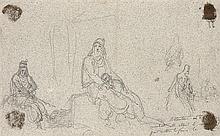 Léon COGNIET (Paris 1794-1880) Lot de trois dessins et deux gravures: paysages et deux études de personnage Crayon noir sur calque D...
