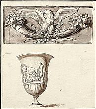 Léon VAUDOYER (Paris 1803-1872) Une étude de vase au Capitole et une étude d'aigle Plume et encre noire, lavis gris et lavis brun su...