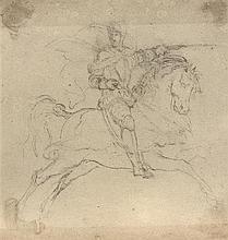 Léon COGNIET (Paris 1794-1880) Un lot de sept dessins, une gravure et une photo sur trois montages Crayon noir, plume et encre brune...