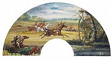 Henri de CAISNE (Bruxelles 1799-Paris 1852) Projet d'éventail: chasse à cour Aquarelle gouachée Signé en bas à droite 27,5 x 54,5cm,...