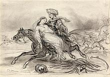 Octave TASSAERT (Paris 1800-1874) Enlèvement au Sérail Crayon noir, estompe et rehauts de craie blanche Monogrammé en bas à gauche 2...