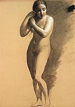 Antoine CHAZAL (Paris 1793-1854) Académie de femme en pied Crayon noir, estompe et rehauts de craie blanche 58,5 x 45cm Petites déch...