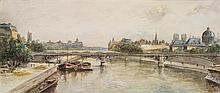 Lucien Marcelin GAUTIER (Aix-en-Provence 1850-Paris 1925) Vue des quais à Paris Aquarelle gouachée Signé en bas à gauche 17 x 39cm