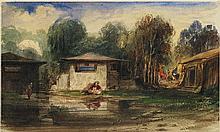 Alexandre Gabriel DECAMPS (Paris 1803-Fontainebleau 1860) Paysage orientaliste Aquarelle gouachée 13 x 22cm