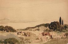 Émile René MENARD (Paris 1862-1930) Pastorale avec femmes, enfants et troupeau de vaches Aquarelle gouachée sur traits de sanguine S...
