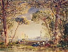 Félix ZIEM (Beaune 1821-Paris 1911) Vue animée de Venise Aquarelle Signé en bas à gauche et en bas à droite 19 x 25cm