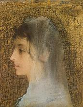Lucien LEVY-DHURMER (Alger 1865-Vésinet 1953) Portrait de femme en buste de profil gauche Pastel sur un fond préparé doré Ancienne d...