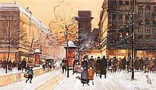 Paul Renard (1941-1997) Vue animée dans les rues de Paris Gouache sur papier Signée en bas à droite 27 x 45,5cm