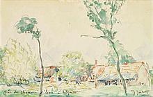 Jules-Arthur Joets (1884-1959) Près du château d'Ecou à Rilques Aquarelle sur papier Signée en bas à droite et située en bas à gauch...