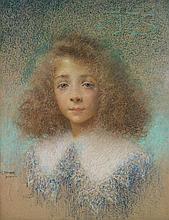 Lucien Lévy-Dhurmer (1865-1953 Portrait de jeune fille, 1900 Pastel sur papier Signé et daté en bas à gauche Porte une inscription e...