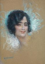 LUCIEN LÉVY-DHURMER (1865-1953) PORTRAIT DE FEMME Pastel sur papier Signé en bas à gauche 57 X 42cm