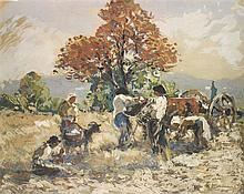 Fernand Maillaud (1862-1948) Scène de labour Gouache sur papier Signée en bas à droite 25 x 31,5cm