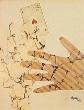 Eileen Agar (1904-1991) Mains à l'as de cœur, 1937 Collage sur papier Signé et daté en bas à droite 29 x 23cm