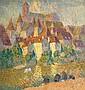 Joseph Louis Lepine (1867-1943) Les lavandières à Argentat Huile sur isorel 82 x 78 cm