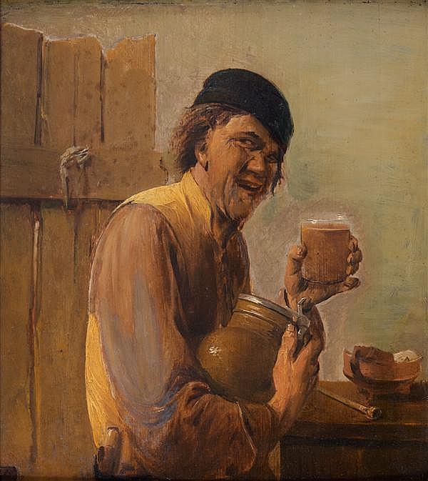 Attribué à Abraham DIEPRAAM (1622 – 1670) Buveur de bière Panneau de chêne, une planche, non parqueté 37 x 33 cm Porte une étiquette...