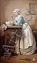 ƒ Charles CHAPLIN (Les Andelys 1825 – Paris 1891)  Les bulles de savon Toile  41 x 26 cm Signée en bas à gauche : Ch