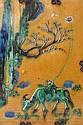 PLAQUE RECTANGULAIRE en biscuit et glaçures plombifères jaune, bleue et verte, à décor d'un bouvier sur son buffle, tenant un cerf-v...