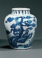 JARRE en porcelaine et bleu de cobalt sous couverte, à haute épaule renflée et large col court, à décor des trois amis de l'hiver (p...