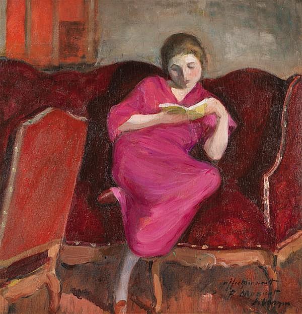 HENRI LEBASQUE (1865-1937) Femme assise sur un sofa