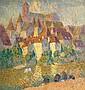 Joseph Louis Lepine (1867-1943) Les lavandières à Argentat Huile sur isorel 82 x 78cm