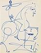 SALVADOR DALI (1904-1989) Cavalier et couronne Feutre sur papier Signé en bas à droite 22 x 17cm