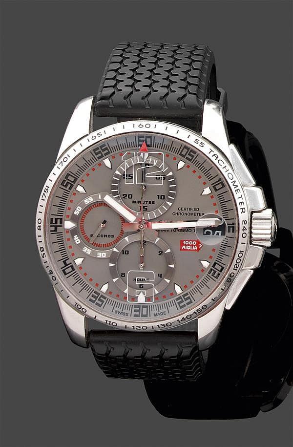 CHOPARD CHRONOGRAPHE MILLE MIGLIA GRAN TURISMO XL PRODUIT EN 2007. SÉRIE LIMITÉE à 2007 EX. Montre bracelet avec chronographe. Boîti...