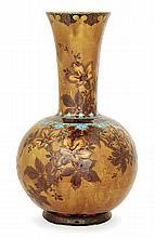 THÉODORE DECK (1823-1891) A baluster enamelled earthenware vase in the persian style. Carved signature