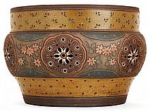 ERNEST CHAPLET (1835-1909) - HAVILAND & CIe A large circular brown enamelled stoneware Flower-pot cover, Paris, 1884-1885 Stoneware. (A