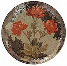 ALBERT LOUIS DAMMOUSE (1848-1926) A large circular enamelled stoneware plate, Sèvres, 1903. Signed with the artist's mark. Diam. 16 1/2