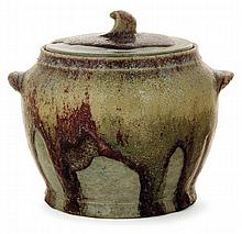ALBERT LOUIS DAMMOUSE (1848-1926) A potbellied enamelled stoneware lidded pot with two handles, Sèvres, circa1898. Signed with the arti