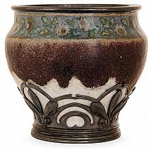 ALBERT LOUIS DAMMOUSE(1848-1926) &ERNEST CARDEILHAC (Orfèvre) An enamelled stoneware potbellied vase, Sèvres, circa 1905-1909, probably
