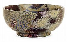 Clément MASSIER (1844-1917) & Lucien LéVY-DHURMER (1865-1953) A circular enamelled earthenware bowl with seashore decoration, Golfe-Jua