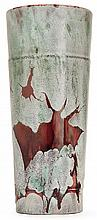 ERNEST CHAPLET (1835-1909) A spectacular cylindrical enamelled porcelain vase, Paris, 1886. Enamelled signature. Reworked in 1891. Heig
