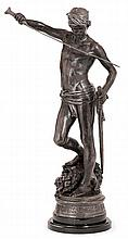 MARIUS JEAN ANTONIN MERCIE (1845-1916) David & Goliath Statuette en bronze Signé sur la terrasse et cachet de réduction mécanique A