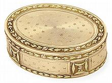 A gold oval box by Toussaint-François Pillieux, Paris 1806-1809. HAUT. 2,4 cm - LONG. 6,7 cm - LARG. 5,2 cm - POIDS 94 g. HEIGHT. 15/16
