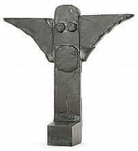 Pierre SZéKéLY (1923-2001) A totemic green patinated bronze sculpture. Signed, dated and numbered. Height. 10 1/4 in. - Width. 10 3/8 i