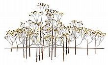 "Curtis JERE - Jerry FELS (1919-2007) & Curtis FREILER (Né en 1910) A large copper and brass ""Bush"" wall sculpture stylizing foliage, 19"