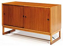 BORGE MOGENSEN (1914-1972) - Karl Andersson & Söner (Éditeur) A geometrical larch wooden sideboard, metallic cross-legs, designed in 19