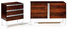 Ico PARISI (Attribué à) A rosewood veneer and steel set of a chest of drawers and a small sideboard. Height. 26 in. - Width. 43 1/4 - 2