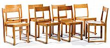 Sven MARKELIUS (1889-1972) & BOSTRÖMS MÖBLER (éditeur) Set of eight stackable molded plywood chairs, circa 1932. Producer's metallic pl