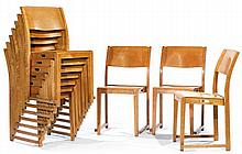 Sven MARKELIUS (1889-1972) A set of ten stackable molded plywood chairs, circa 1932. Height. 33 1/8 in. - Width. 18 1/8 in. - Depth. 16