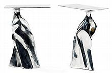 Anon PAIROT (Né en 1979) A pair of aluminum occasional table with a twist conical base and a cantilever top. Designer's label. Height.