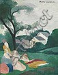MARIE LAURENCIN (1885 - 1956)  Trois jeunes filles au jardin Huile sur toile Signée en haut à droite 41 x 33 cm - 16 1/8 x 12 7/8 in