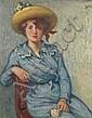 ƒ GEORGES D'ESPAGNAT (1870 - 1950) Jeune fille en bleu à la rose, 1898 Huile sur toile Monogrammée en haut à droite 100 x 81 cm - 39...